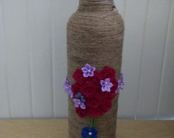 Twine and floral bottle