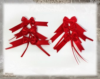 "Red Ribbon Bows, 1"" Wide, Tiny, Handmade, Polyester, Heat-sealed, Shimmering, Sparkly, Christmas, Gifts"