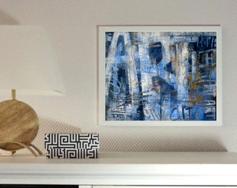 Small print, abstract art, collage, contemporary painting, ink jet, giclee print, jean blue, word art, acrylic painting, expressive art