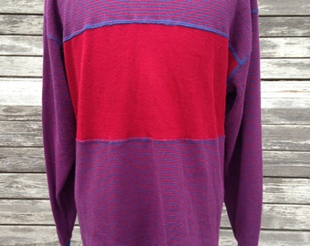 Vintage 90s oversized striped sweater - Large