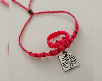 Bracelet, ring, OM, Aum, Ohm, Goa, macrame, jewelry, pink, psy trance