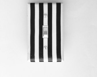 Black White Stripes Light Switch Plate- Switch Cover-  Outlet Cover
