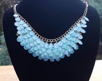 Light Blue Bib Necklace on Gold Chain