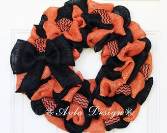 Halloween Wreath, Halloween Burlap Wreath, Orange Black Wreath, Halloween Decor, Fall Wreath, Fall Decor, Black wreath