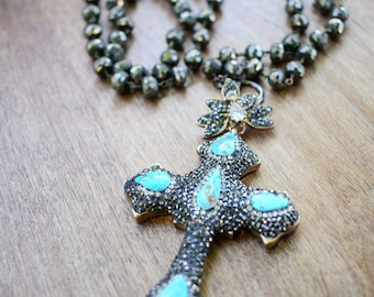 Cross-Body Pyrite & Sterling Silver Turquoise Cross Necklace