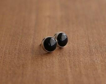 Black Onyx Stud Earrings, Black Earrings, Handmade Studs