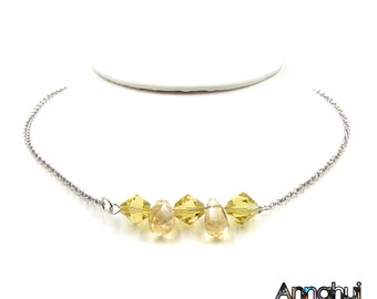 Citrine Necklace, Citrine Bar Necklace , Citrine Choker, Citrine Chain Necklace, November Birthstone, Gemstone Choker, Crystal Choker, Gifts