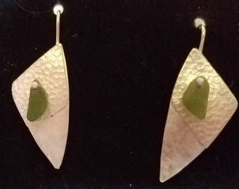 Layered sterling silver earrings with citrine sea glass