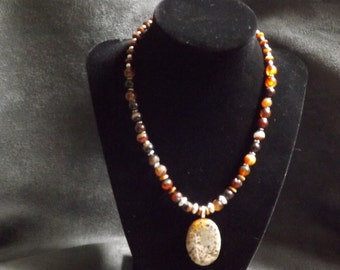 Jasper Pendant with Agate and Silver Beads