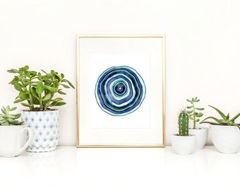 Blue Circle Art / Abstract Blue Circles / Abstract Printable / Blue Watercolor Print / Modern Art Printable / Instant Download