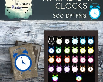Rainbow Clocks Clipart pack - Clock clipart - colorful clocks favor tags- multi-color clocks cupcake toppers- school clipart - morning art