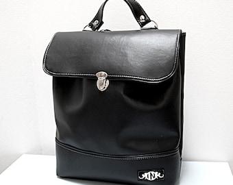 Designer Black Backpack or shoulder bag, 2 in 1