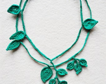 Leaf Necklace, Green Crochet Leaf Necklace, Green Necklace, Crochet Jewelry