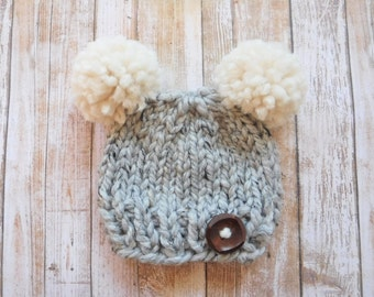 Double Pompom Hat - Chunky Knit Photo Prop - Newborn, Baby, Child