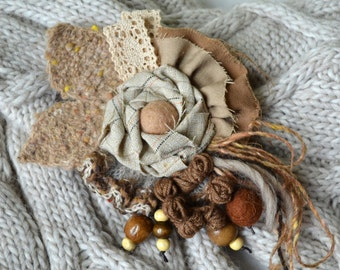 Handmade boho brooch with flower Beige and brown rustic brooch Textile brooch Boho jewelry Bohemian brooch Flower brooch Gift for her