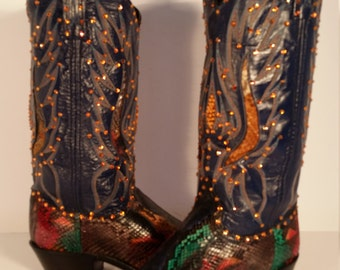 Size 7.5 B New Exotic Genuine Rainbow Python Dan Post Women's Boots Blinged out with Swarovski Crystals