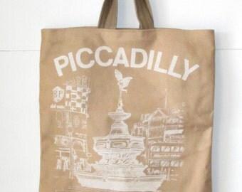 Canvas Tote Bag, Vintage Tote Bag, Waxed Canvas Tote, Waxed Canvas, Cotton Tote Bag, Tourist Tote, London England, English Clothes, Tote Bag