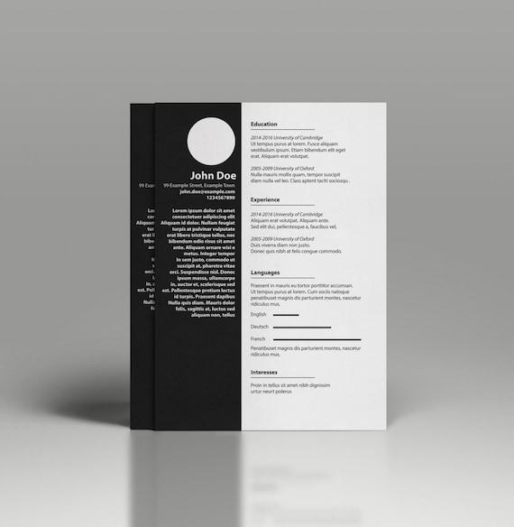 minimalist cv template professional resume template word