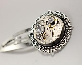 Steampunk Hair Clip - Gothic Hair Clip - Wedding Hair Clip - Silver Hair Pin - Hair Accessories - Watch Movement - Hair Jewelry - Barratte