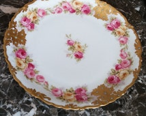 Limoges P & B France Elite L France - Hand Painted - Roses - Gold Gilt - Turquoise Dots