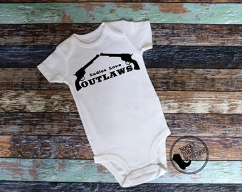 Ladies Love Outlaws Bodysuit, Country Baby Clothes, Country Baby, Baby Shower Gift, Waylon Jennings