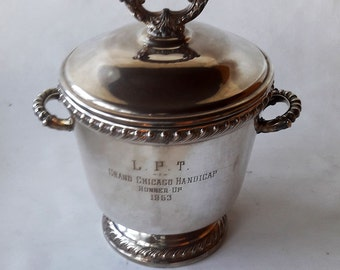 REDUCED 1953 Silverplate Ice Bucket with Mercury Glass Liner
