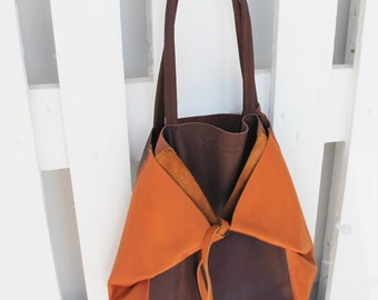 Two-tone leather - KEMBOJA - Marsala Brown and Camel rawhide bag Tote