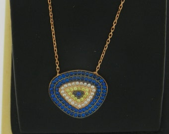 Evil Eye Necklace Red Plated
