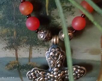 "Stunning 34"" Necklace with Reddish Orange Round Carnelian Gemstones and Bulky Chain"