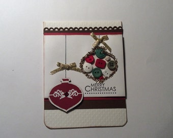 Hand made - Christmas card - Detailed gold lined ornaments