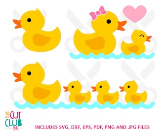 Cute Ducks SVG and DXF files for Cutting Machines or Screen printing, eps, jpg, pdf and png files also included CC-011