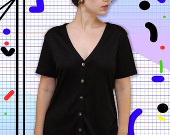 90s sporty ribbed button down black top with plunging neckline