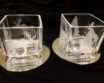 Etched moose and tree tea light holders set of two