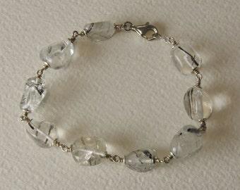 Tourmalinated quartz bracelet 925 Silver Clasp and%