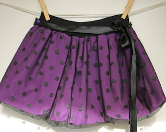 Purple polka dots skirt, girls skirt, baby skirts, toddler skirt, bubble skirt, purple skirt, black tulle, tulle skirt, elastic waist skirt