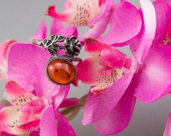 Vintage Amber Rose Flower 925 Silver Ring