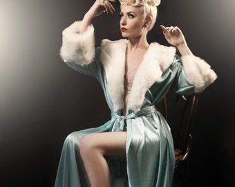 The Hollywood Peignoir Tiffany Blue. Luxury silk, satin robe/ dressing gowns fur trim, the perfect gift for her - Glamour in the boudoir.