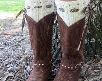 Bohemian Boot Cuffs, Ivory Knitted Leg Warmers, Boots Socks, Crochet Boot Cuffs, Women Legwarmers, Knit Boot Toppers, Boho Knit Boot Socks