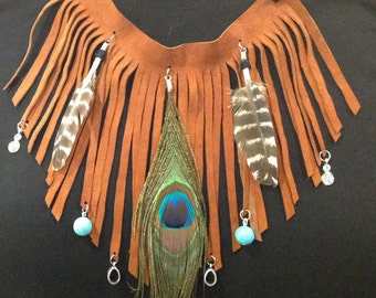Boho Leather Feather fringed necklace