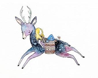 Dream Deer. Watercolor Print.