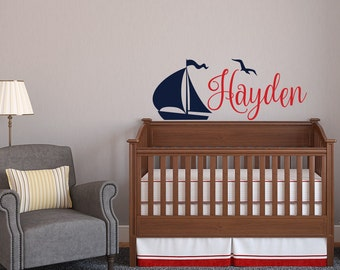 Personalized Boy Name Wall Decal   Nautical Name Decal   Boat Wall Decal  Nautical Nursery Decor Part 48