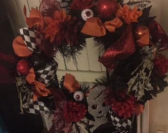 Halloween mesh wreath orange and red