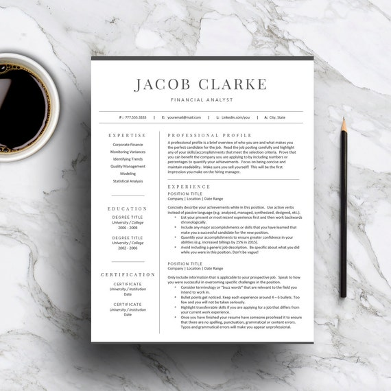 classic resume template for word  u0026 pages 1 and 2 page resume