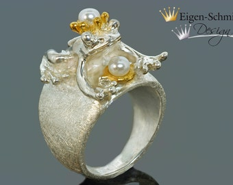 """Goldsmiths frog ring """"frog King Paulchen"""" in 925 sterling silver with a gilding of part of, frog, silver ring, Crown, Pearl, ring"""