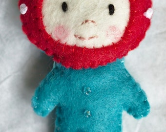 Felt doll, soft toy, stuffed toy, red and blue, miniature doll, kawaii