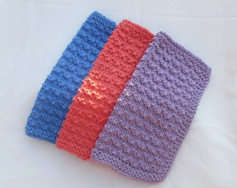 Hand Knit 100 % Cotton Wash cloths/Spa cloths Set of three