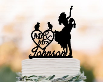Personalized Wedding Cake topper mr and mrs, Cake Toppers with cat bride and groom silhouette, funny wedding cake toppers customized