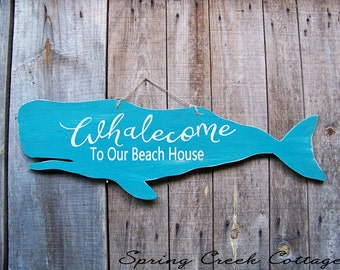 Wood Cutouts, Whalecome To Our Beach House, Rustic, Nautical, Wood Sign, Home Decor, Coastal Living, Beach, Whale Silhouette