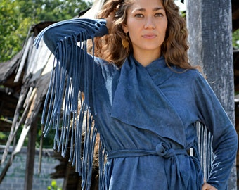 The Short Fringe Shanti Jacket with belt in Organic Hemp Jersey. Ready to ship.