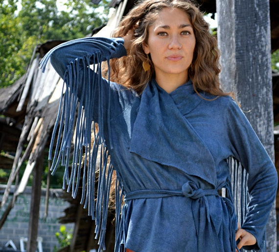 The Short Fringe Shanti Jacket with belt in Organic Hemp Jersey. Ready to ship. Size Large in color Olive.